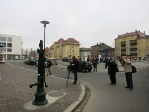 historische Schwengelpumpe am Huygensplatz