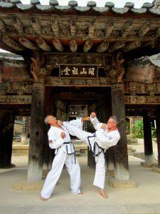 Großmeister Heiko Peter demonstriert einen Seitkick (Sidekick) vor einer Tempelanlage in Korea, dem Heimatland von Taekwon-Do.