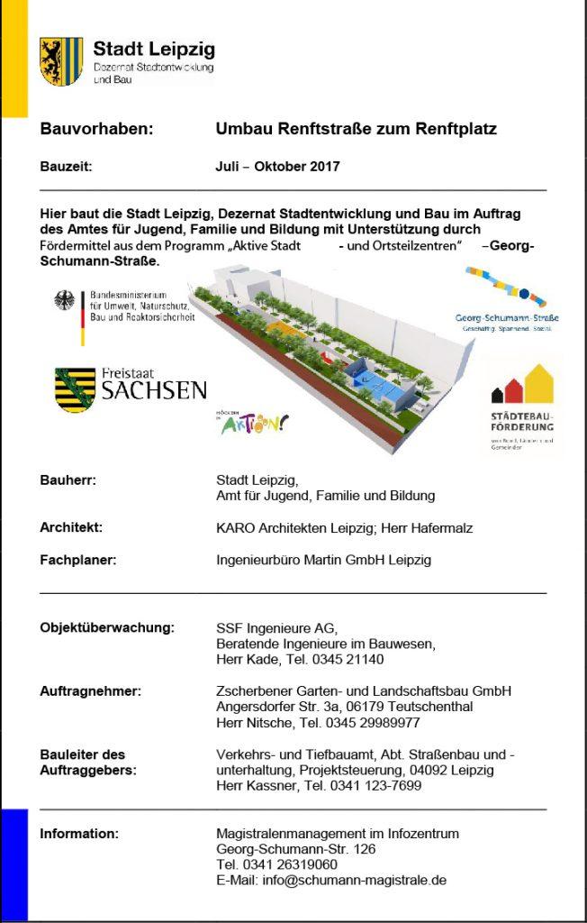 Bauschild Renftplatz - Umbau Renftsstraße zu Renftplatz / Schumann Magistrale 2017