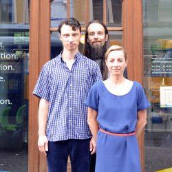 Das Magistralenmanagement-Team: Stephan Grandke (TriPolis GbR), Ivo Zibulla (Ungestalt GbR/Projektträger) und Talina Rinke (KOKOMA | PR- und Projektmanagement)