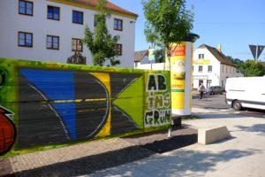 Ergebnis des Graffiti-Workshops mit Urban Art und Kindern und Jugendlichen 2017.