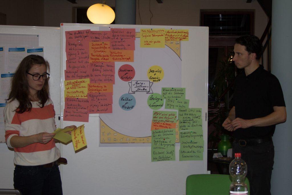 In einer abschließenden Runde wurden die Ergebnisse aus den Arbeitsgruppen des Bürgercafés von Maria Köhler und Stephan Grandke vom Magistralenmanagement präsentiert. ©Magistralenmanagement Georg-Schumann-Straße