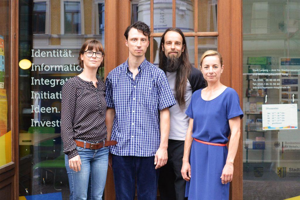 Das Magistralenmanagement-Team: Maria Köhler (KOKOMA | PR- und Projektmanagement), Stephan Grandke (TriPolis GbR), Ivo Zibulla (Ungestalt GbR/Projektträger) und Talina Rinke (KOKOMA | PR- und Projektmanagement)