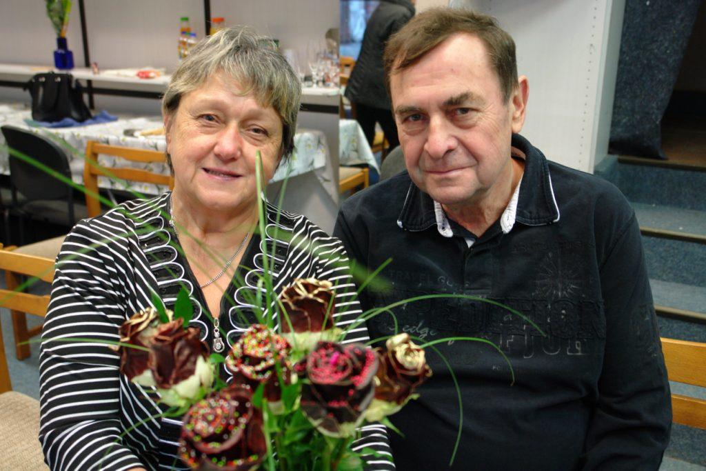 Frau Pohl mit ihrem Mann Thomas am Tag Ihrer Verabschiedung im Laden. © Magistralenmanagement Georg-Schumann-Strasse, Stephan Grandke