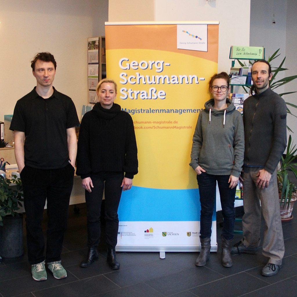 Das Magistralenmanagement-Team 2017 bis 2018: Ivo Zibulla (Projektträger, Ungestalt GbR), Maria Köhler und Talina Rinke (KOKOMA | PR- und Projektmanagement), Stephan Grandke (tri:polis). (v.r.nl.)